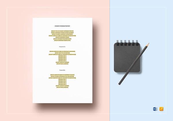 Student Internship Report Template To Edit