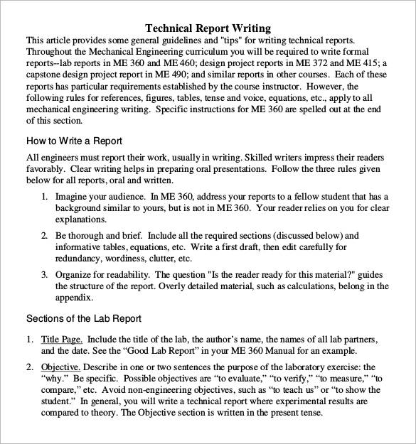 technical report writing format template