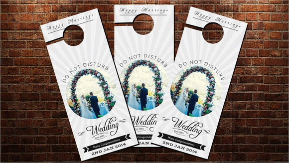 wedding door hanger template psd