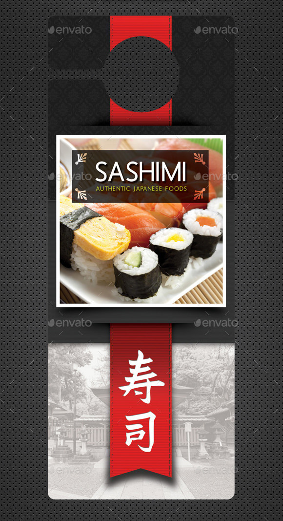 sushi restaurant door hanger template