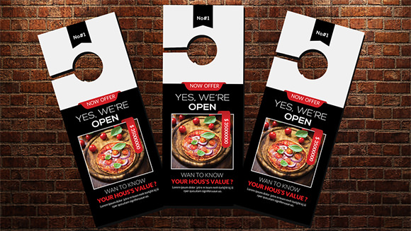 fast food open door hanger design template