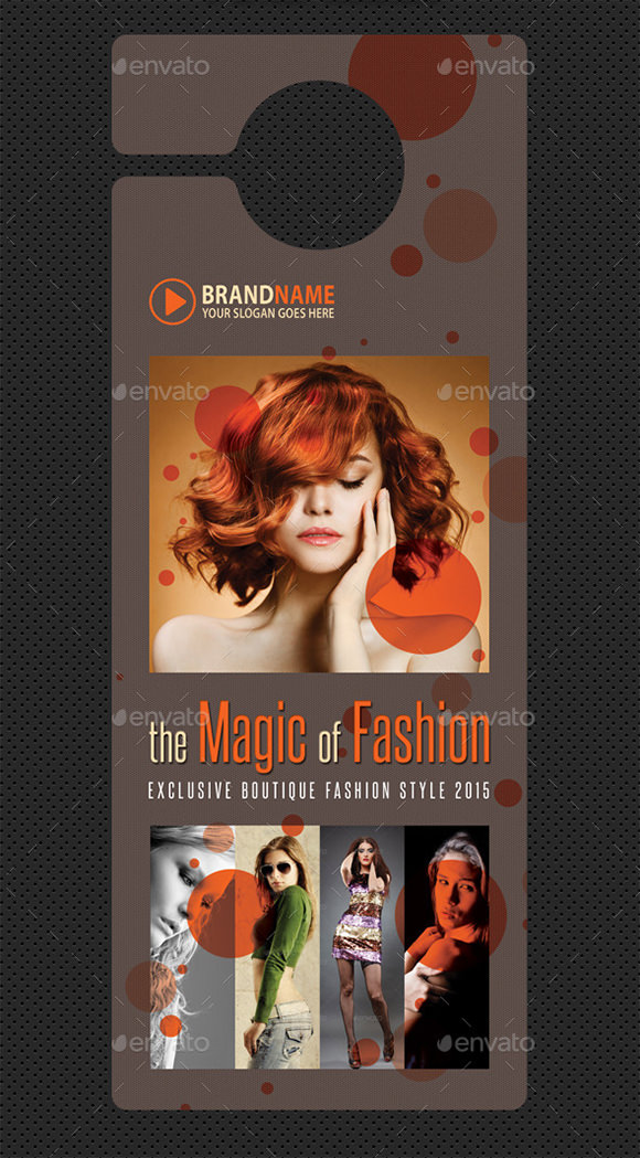 beauty fashion door hanger design template