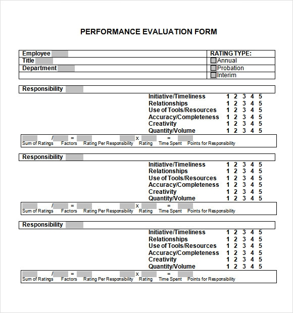 Sample Performance Evaluation Form   Documents In Pdf Word
