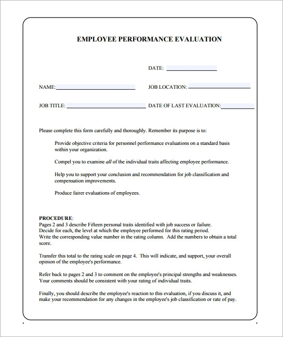 Doc12401754 Staff Appraisal Form Template Free Employee – Staff Appraisal Form Template