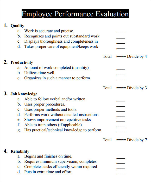 Sample Performance Evaluation Form   Documents In  Word