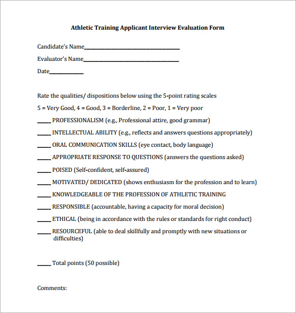 interview evaluation form 7 free examples format sample templates