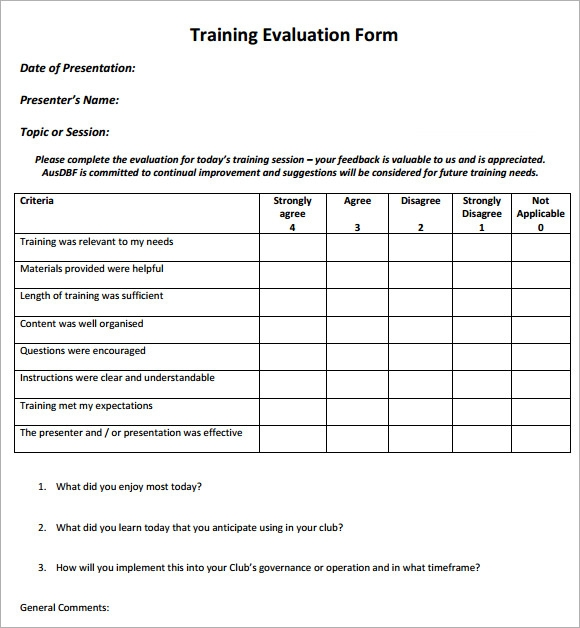 Training Feedback Form Sample Training Feedback Form Doc Training