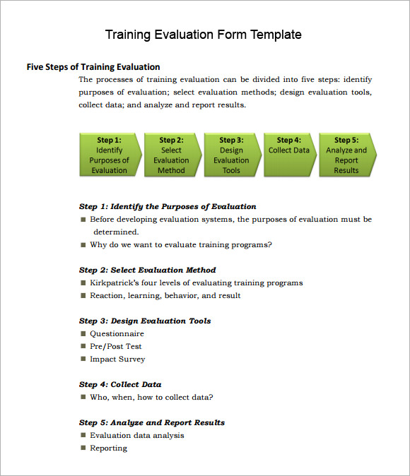 Training Evaluation Form Sample   Free Examples  Format