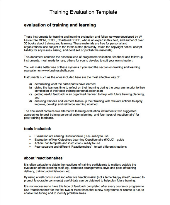 Training Evaluation Form Sample 8 Free Examples Format – Training Feedback Template
