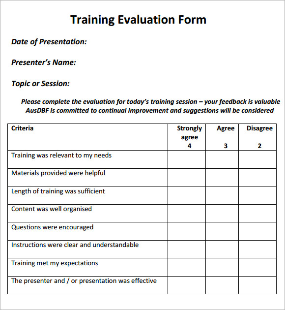 9 training evaluation form sample free examples format sample simple training evaluation pdf template maxwellsz