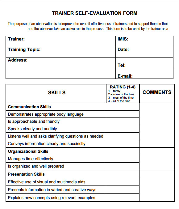 9 Training Evaluation Form Sample – Free Examples & Format | Sample ...