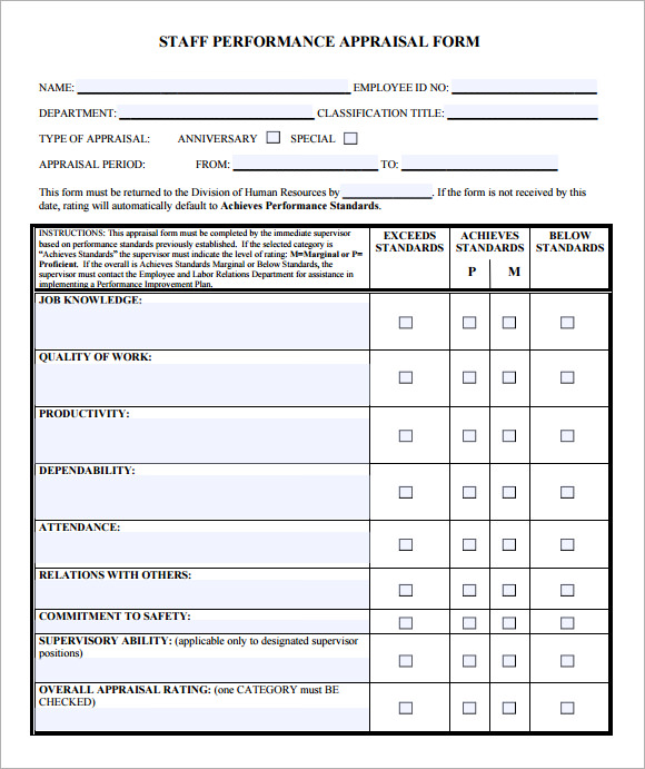 Employee Evaluation Form Example | Free Employee Evaluation Form Template Heart Impulsar Co