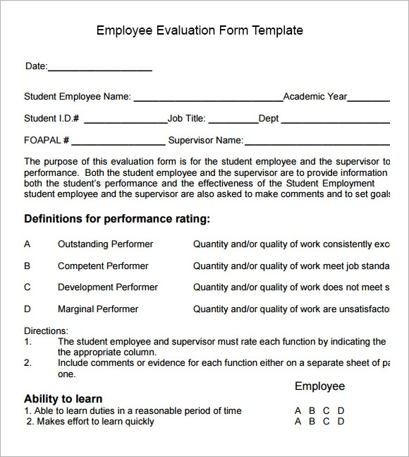 Employee Evaluation Form Sample   Free Examples  Format