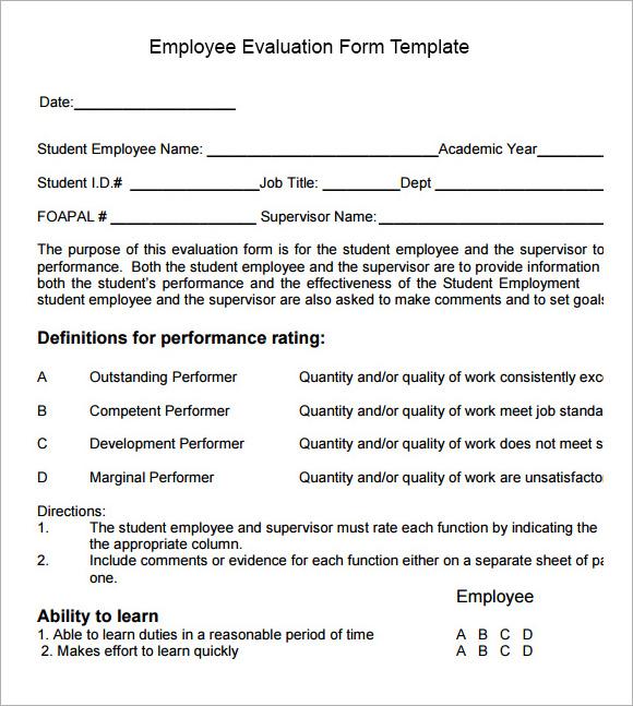 sample appraisal form template | trattorialeondoro