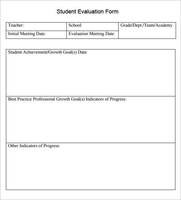 Sample Student Evaluation Forms