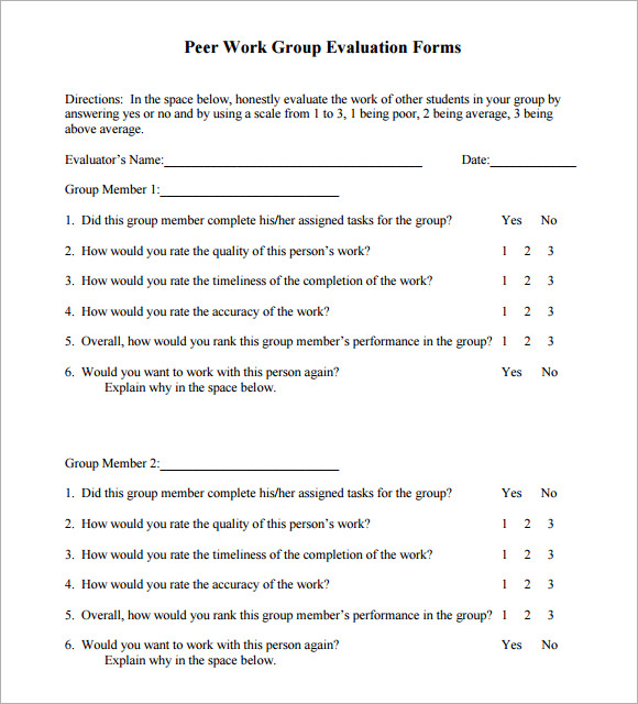 Peer Evaluation Form 9 Free Samples Examples Format