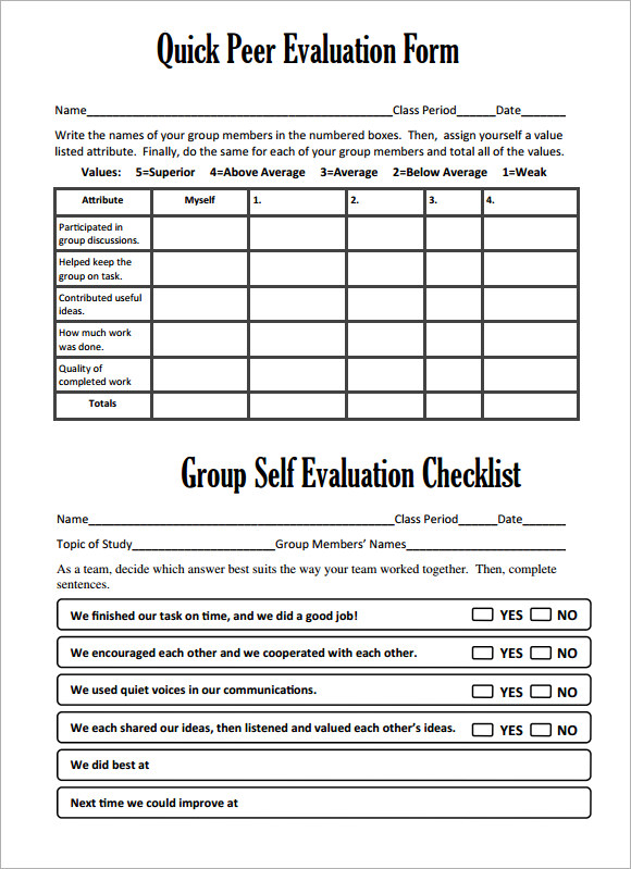 Peer Evaluation Form - 8+ Free Samples, Examples, Format