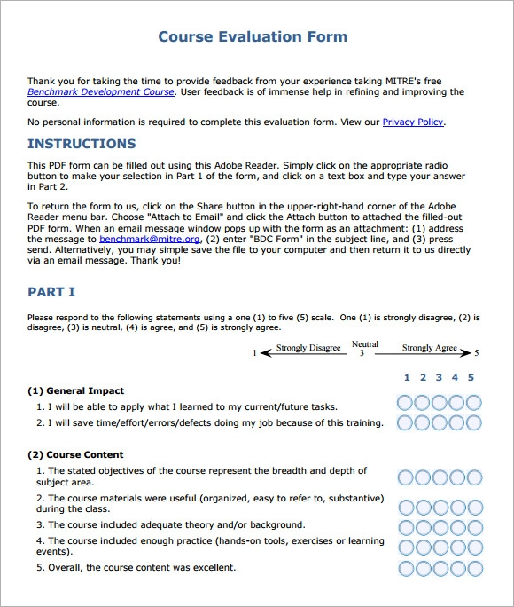 Course Evaluation Forms Sample   Free Examples  Format