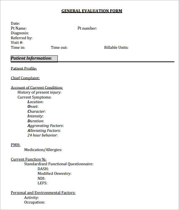 Best Sample General Evaluation Template Gallery  Best Resume
