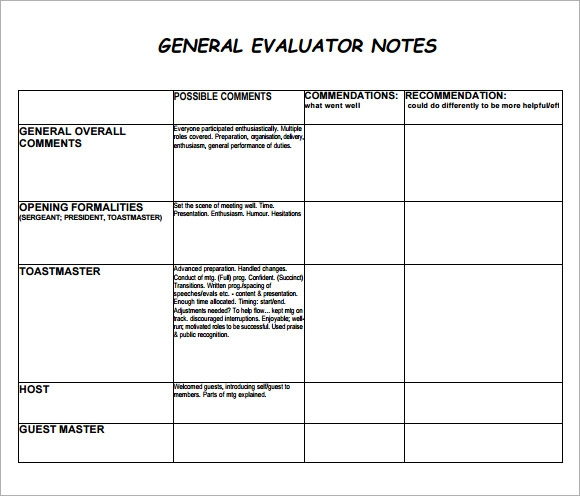 general evaluation note