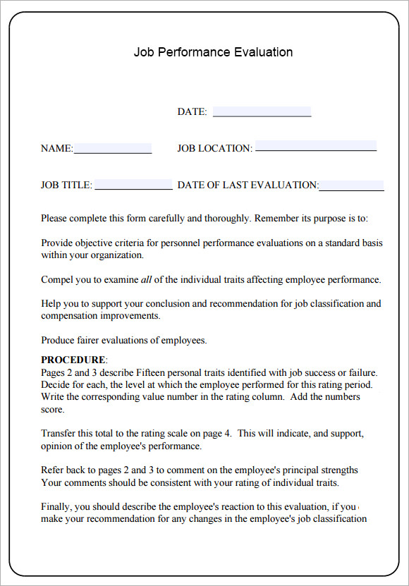 10 job performance evaluation templates download for free