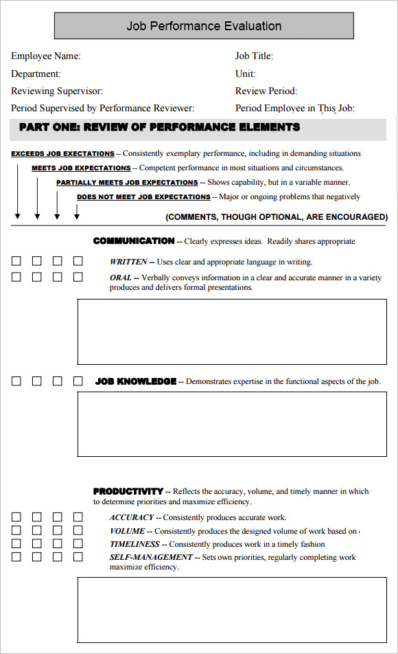 10 job performance evaluation templates download for free for Job evaluation questionnaire template