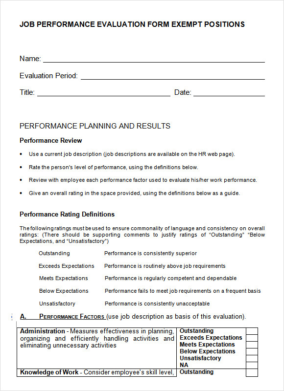Job Performance Evaluation 7 Download Documents in PDF – Employee Performance Evaluation Form Free Download