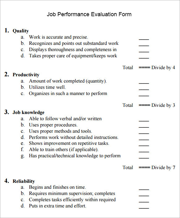 job performance evaluation sample form
