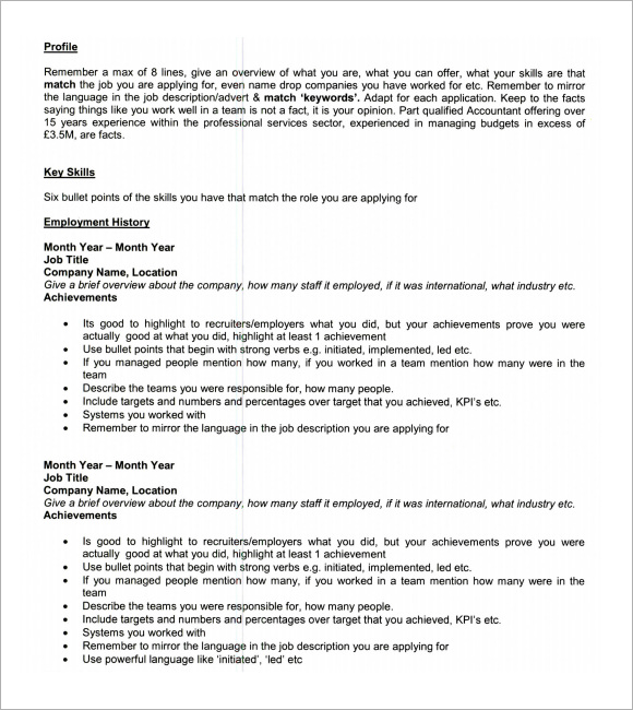 Cv Template By Skills