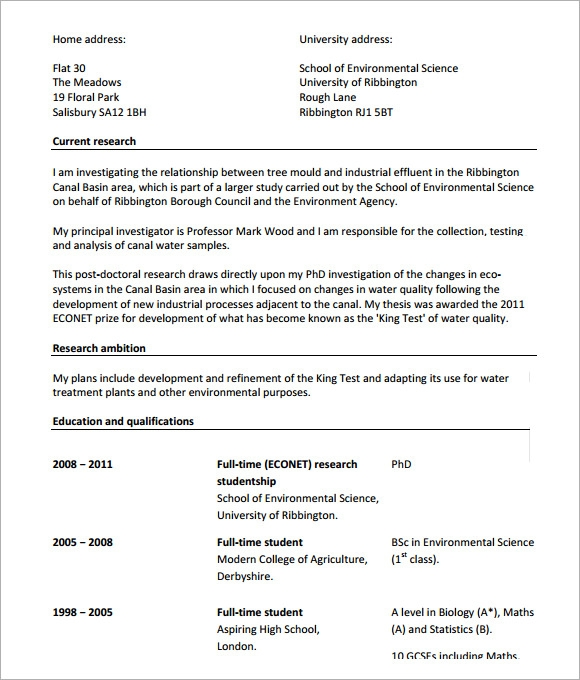 Sample Modern Cv Template   Download Free Documents In Pdf