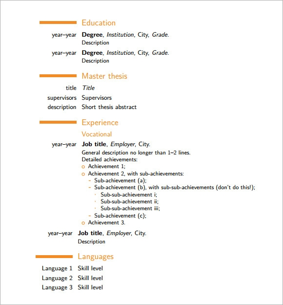 modern cv template 7 download documents in pdf sample