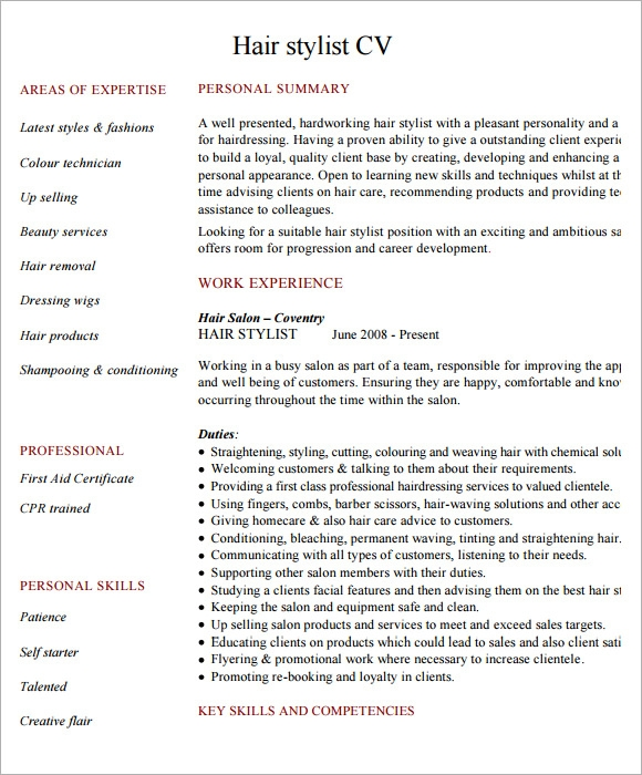 Sample Hairdressing CV Template 7 Download Documents in PDF