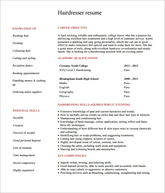 Hairdressing Resume  CityEsporaCo