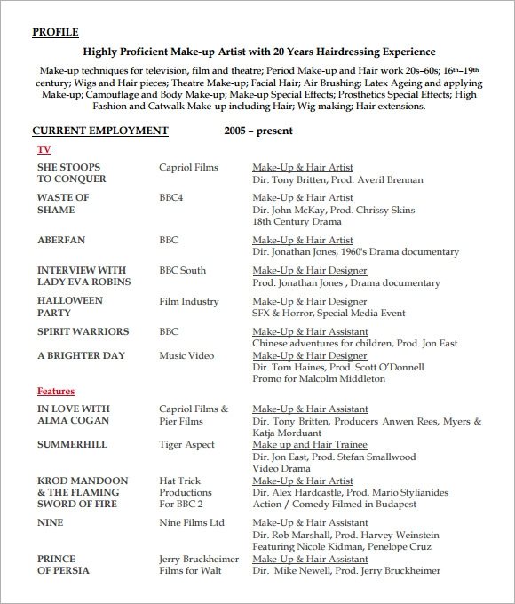 Hairdressing Resume Examples