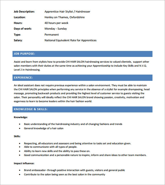 Sample Hairdressing Cv Template   Download Documents In Pdf