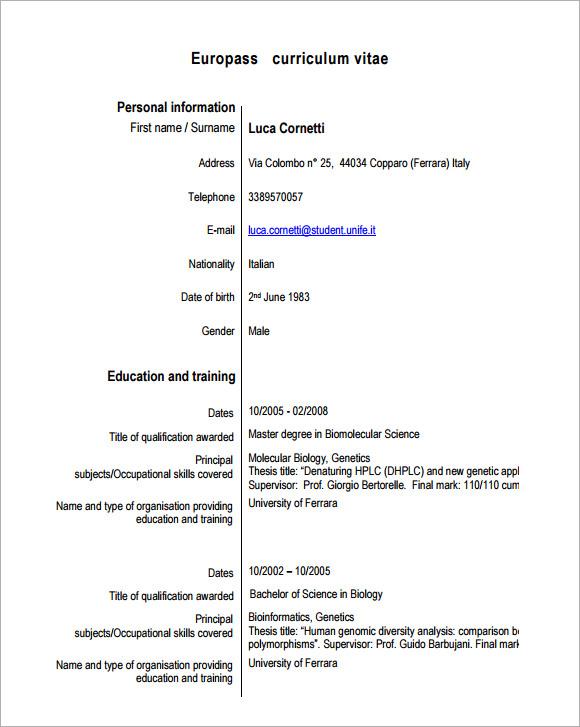 sample europass curriculum vitae