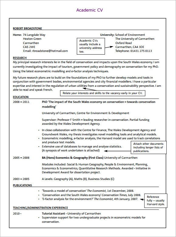 Free 8 Sample Academic Cv Templates In Pdf Ms Word