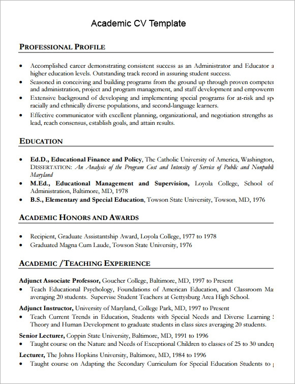 academic cv template printable - Sample Academic Resume