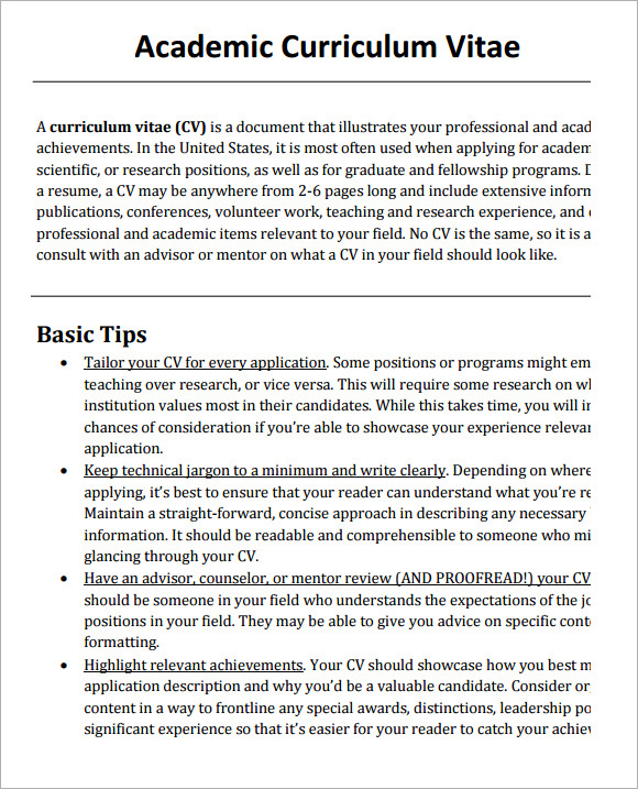 sample academic cv template 8 download documents in pdf word