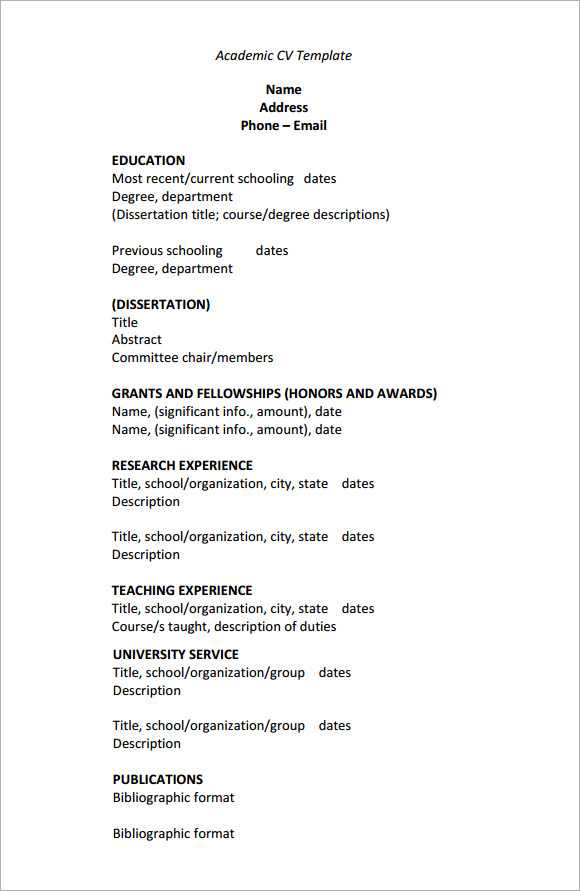 9 academic cv templates download for free