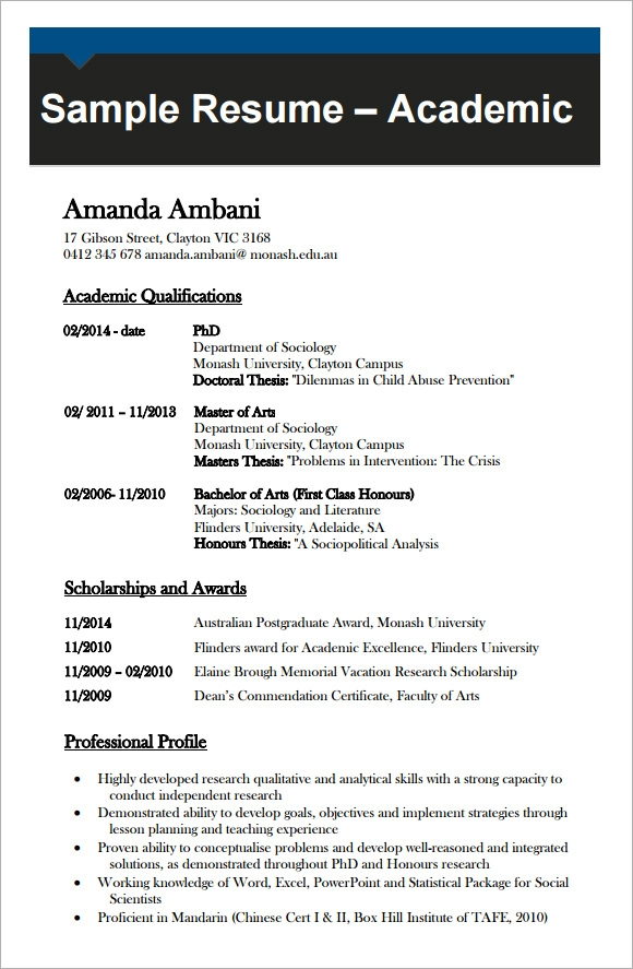 sample academic cv template