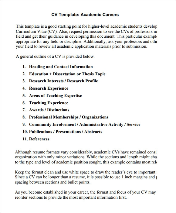 Academic Cv Templates Samples