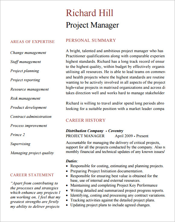 sample project manager cv template documents in pdf project manager cv template sample
