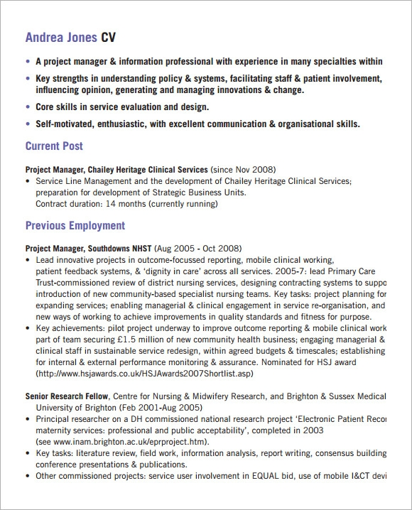sample project manager cv template    download documents in pdfproject manager cv template downloadable