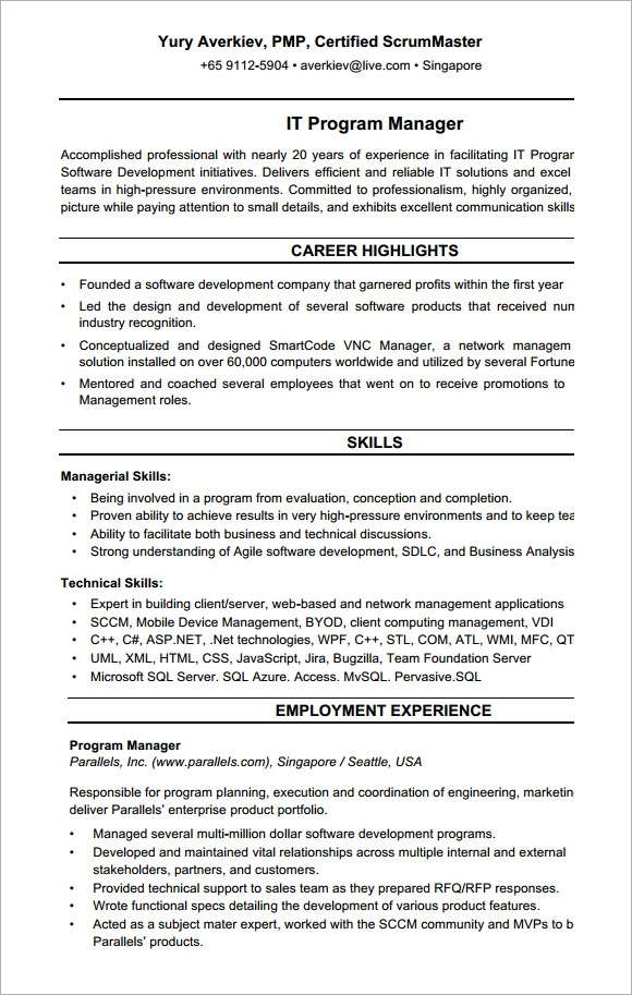 sample project manager cv template documents in pdf project manager cv template