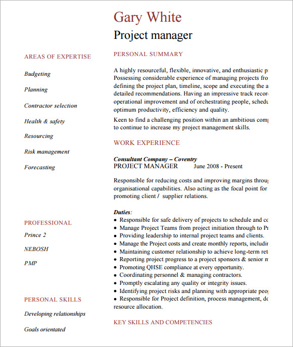 sample project manager cv template documents in pdf sample project manager cv template