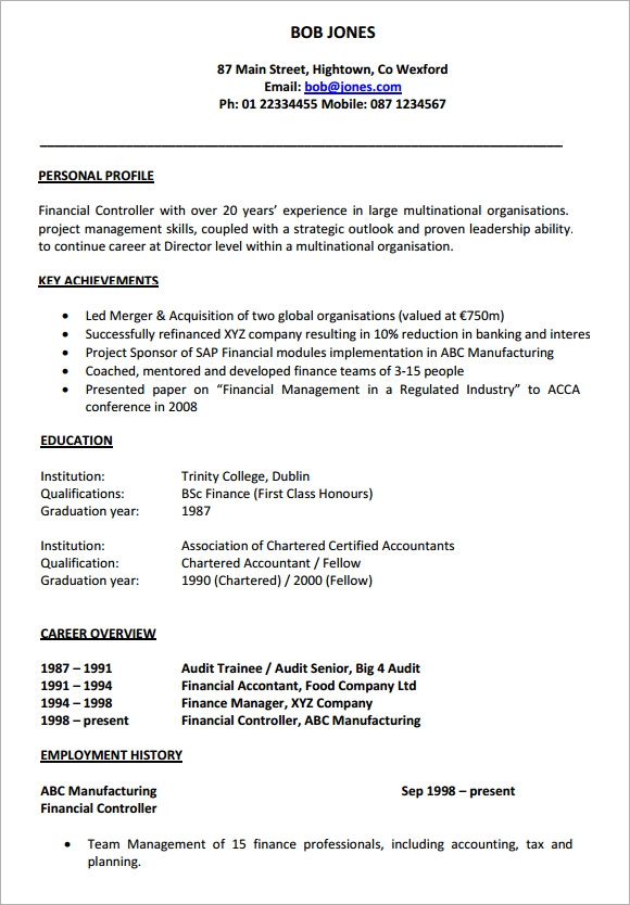 sample cv 26 documents in pdf word