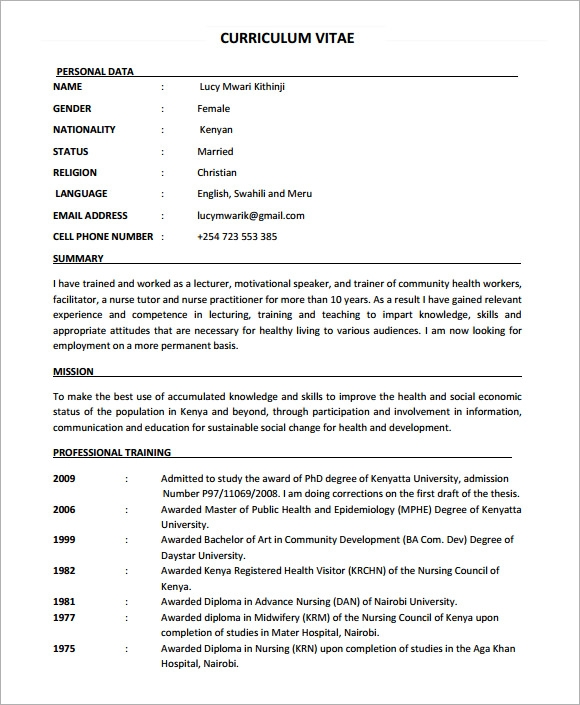 Sample Nursing Cv   Documents In Pdf Word