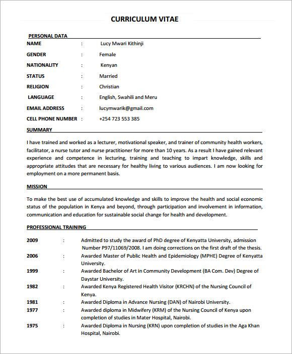 nursing cv template 7 documents in pdf sle
