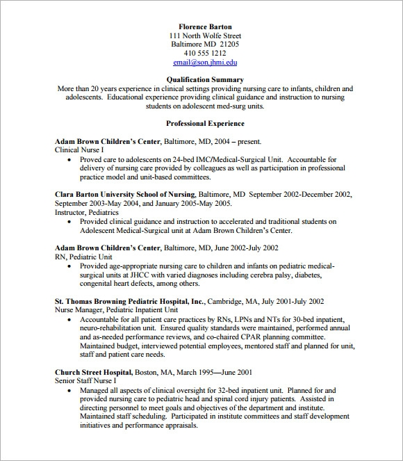 Sample Nursing CV  7 Documents
